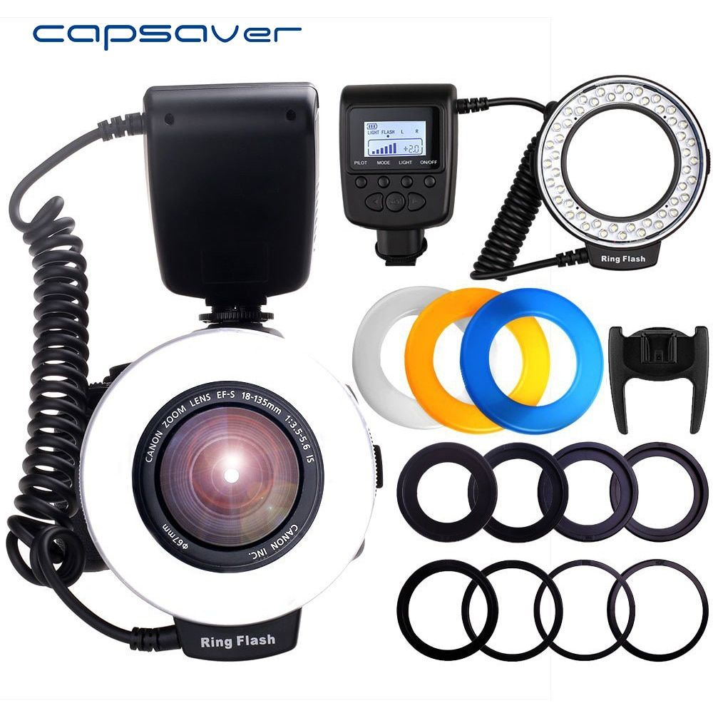 capsaver RF-550D <font><b>Macro</b></font> LED Ring Flash Light Speedlight Speedlite for Canon Nikon Sony Hotshoe Olympus Panasonic Pentax GN15