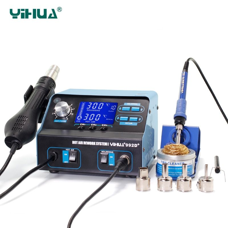 YIHUA 992D+ SMD Soldering Station Repair Board Rework Station Soldering With Hot Air Soldering Station