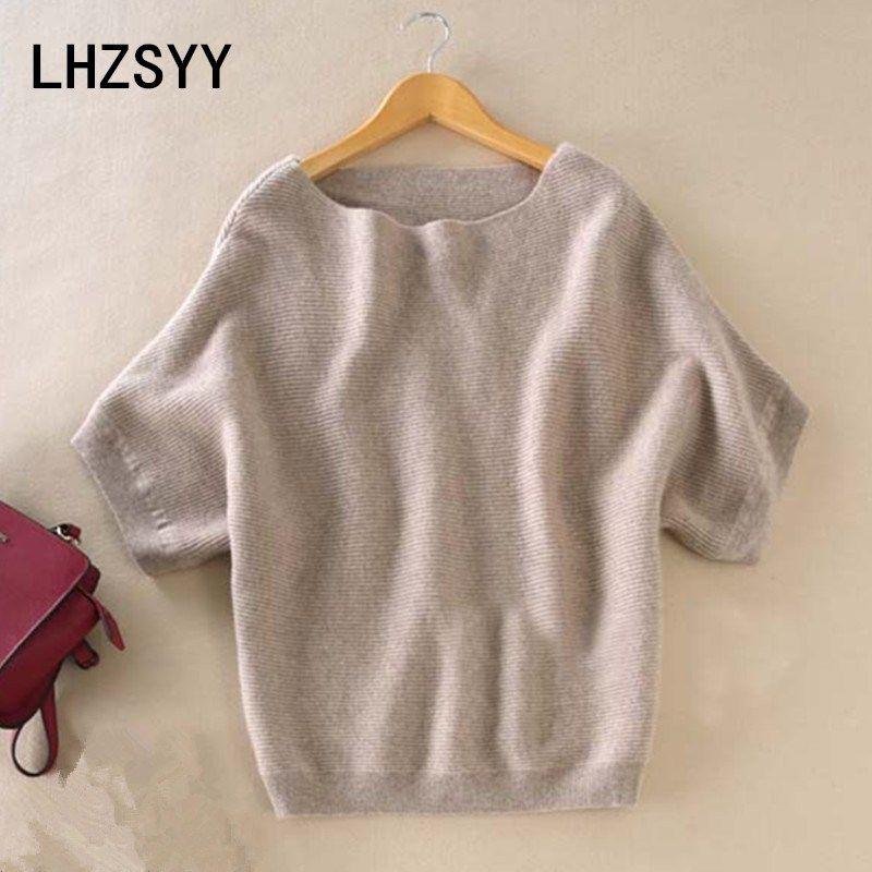 LHZSYY Seasons A Word collar <font><b>Cashmere</b></font> Sweater New Women Loose big Yards Bat Shirt Solid Short-sleeved Knit Hedging wild Sweaters