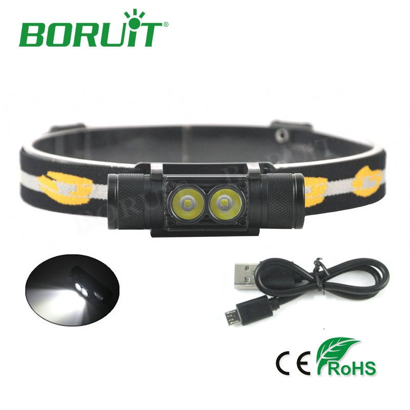 <font><b>BORUiT</b></font> 1000lm 2 XP-G2 LED Headlamp 6-Mode USB Rechargeable Headlight For Hunting Fishing Camping Head Lamp Torch Light By 18650