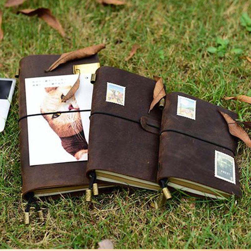 Genuine leather notebook travelers journal agenda handmade planner notebooks vintage diary caderno sketchbook school <font><b>supplies</b></font>