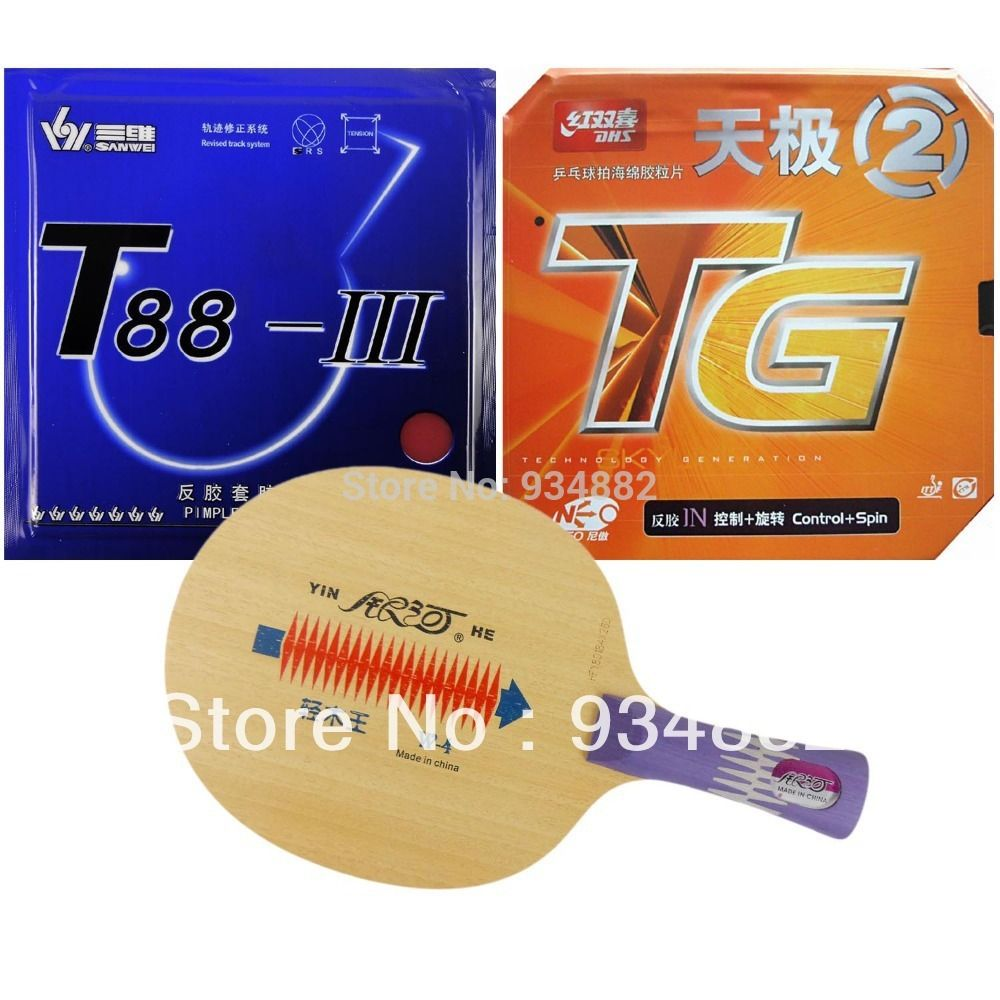 Pro Table Tennis Ping Pong Combo Paddle Racket Yinhe W-4 + DHS NEO Skyline TG2 and Sanwei T88-III Shakehand long handle FL