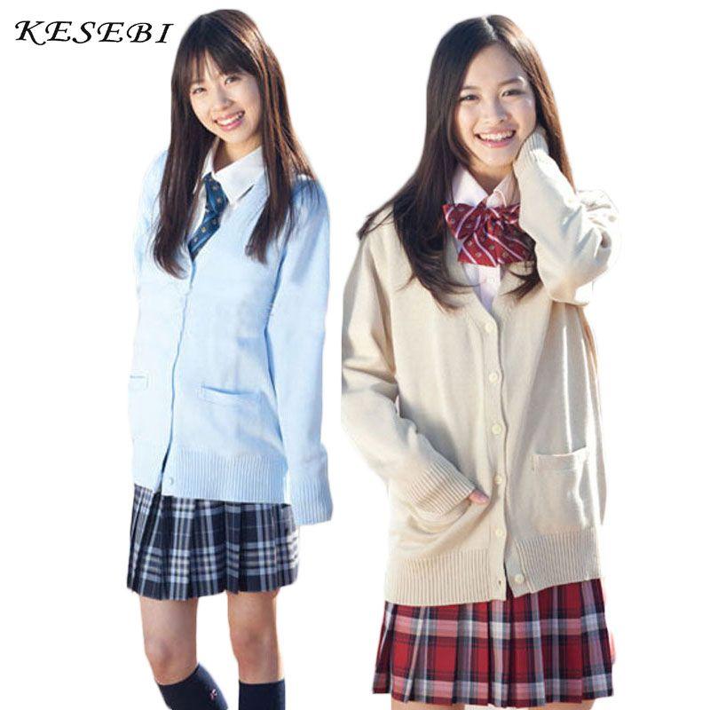 Pull Femmes Uniforme Scolaire Japonais Cardigan Femmes Hiver Étudiants Fille Simple Boutonnage De Base Femmes Col V Cardigans Pulls