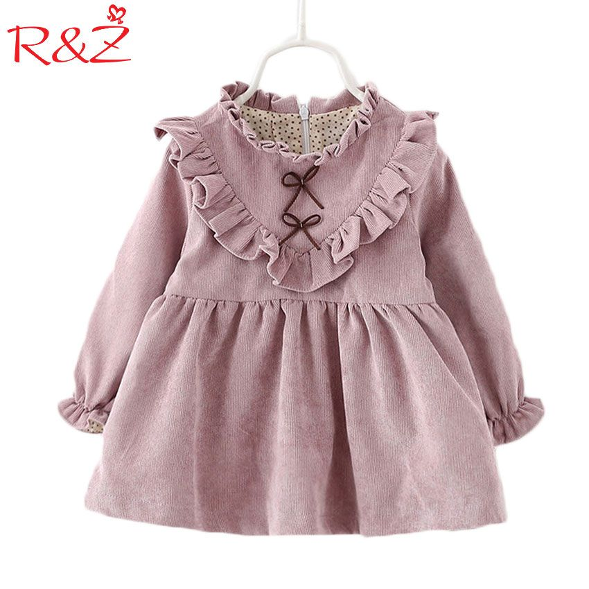 2017 baby girls dress spring and autumn long sleeve Korean version solid color V-shaped fungus dress paragraph child dress k1
