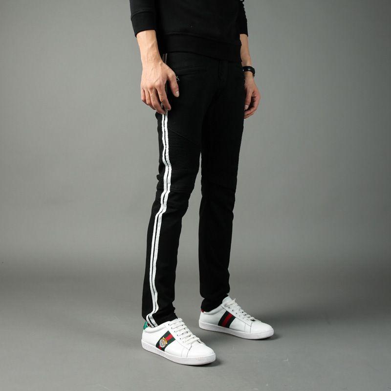 Balplein Brand Designer Men Jeans Black Color White Ribbon Spliced Slim Fit Denim Cotton Pants High Street Biker Jeans Men