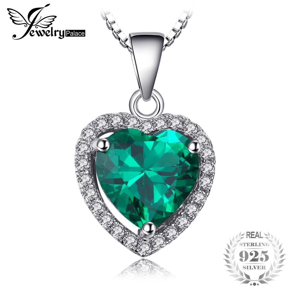 JewelryPalace Heart Of Ocean 2.4ct Green Created Emerald Love Forever Halo Necklace 925 Sterling Silver 45cm Chain For Women
