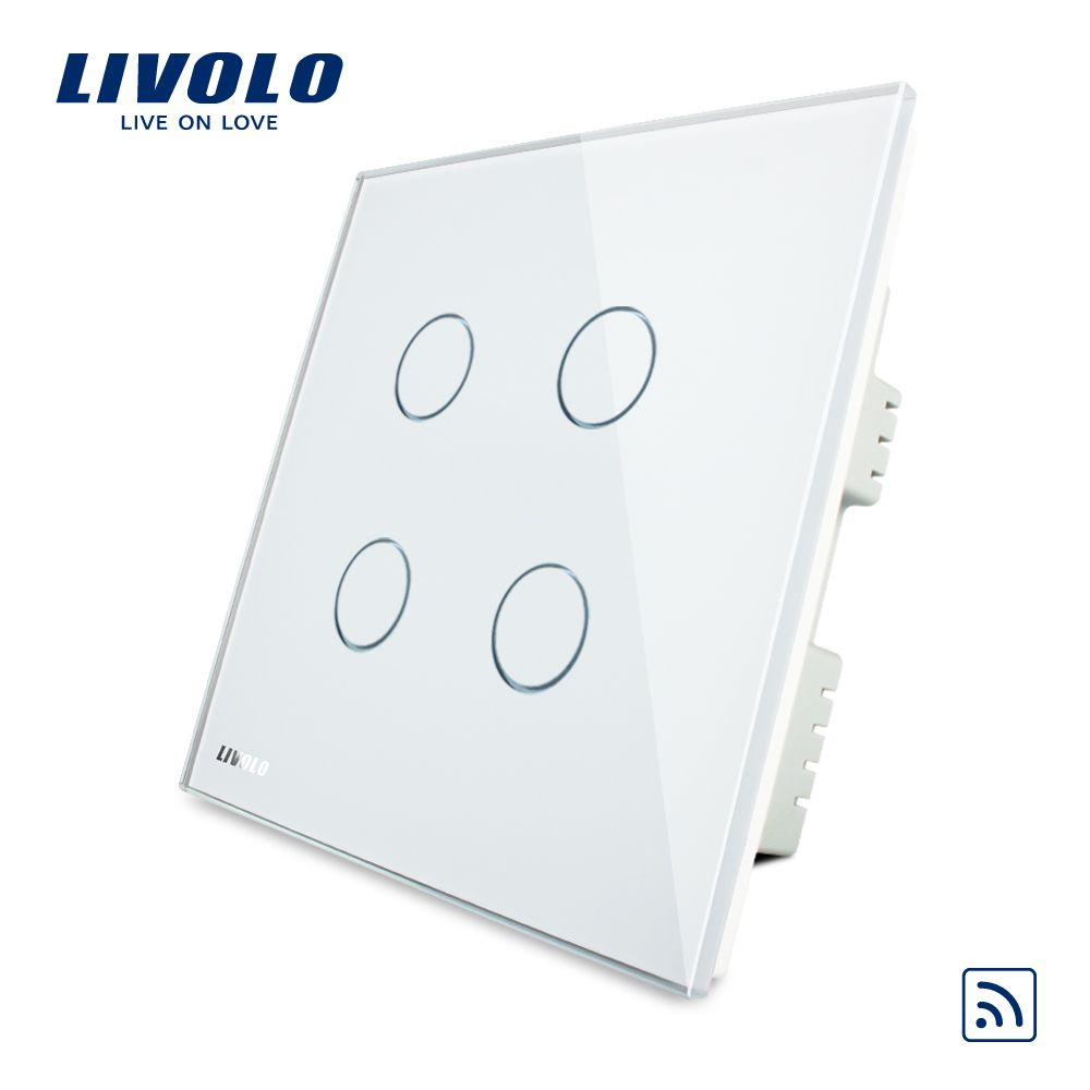 Livolo UK standard 4gang Wireless Remote Touch Switch , AC 220-250V , Crystal Glass Panel, VL-C304R-61,no remote controller