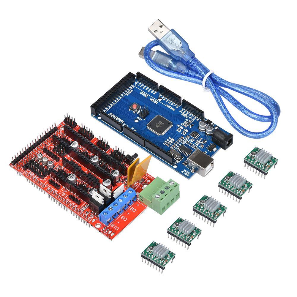 1 pcs RAMPES 1.4 Contrôleur + 5 pcs A4988 Stepper Pilote Module + 1 pcs Mega 2560 R3 Reprap Mendel