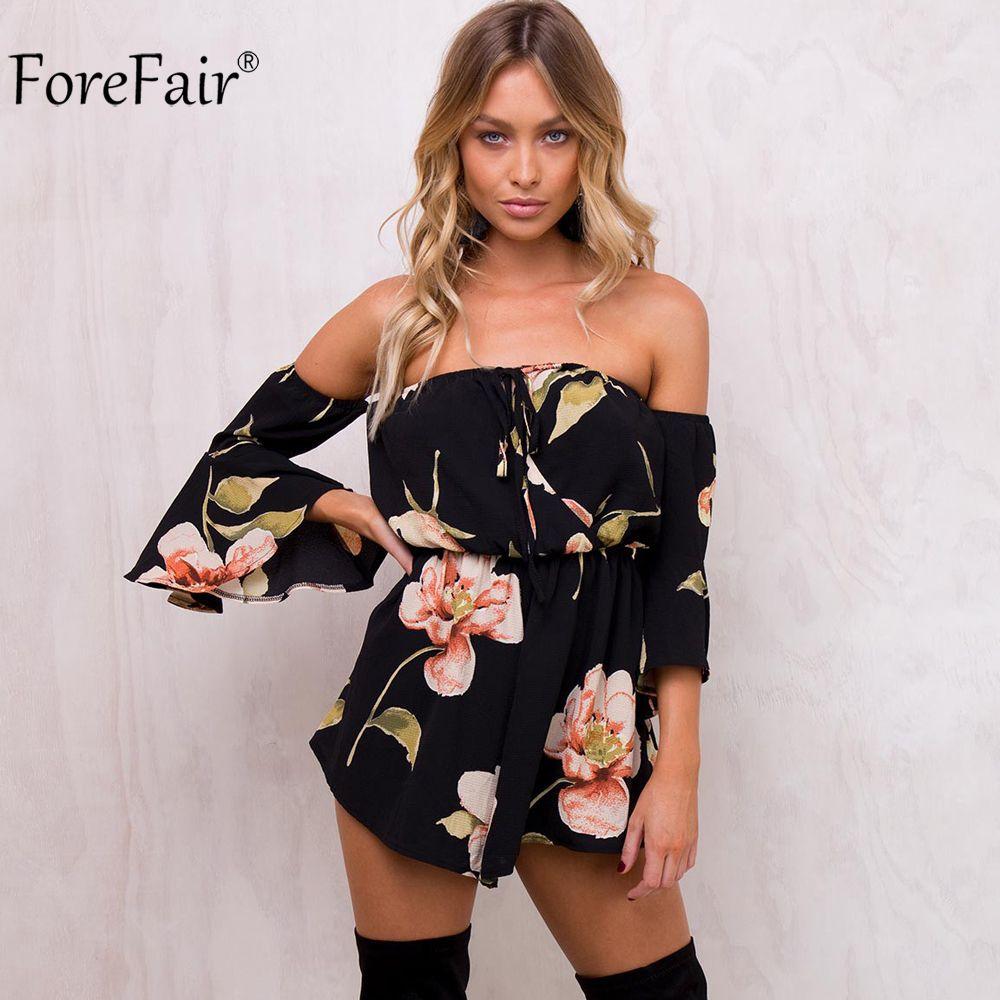 ForeFair Summer Floral Print Elastic Waist Short Chiffon Jumpsuit Women Flare Sleeve Boot Cut Sexy Strapless Romper