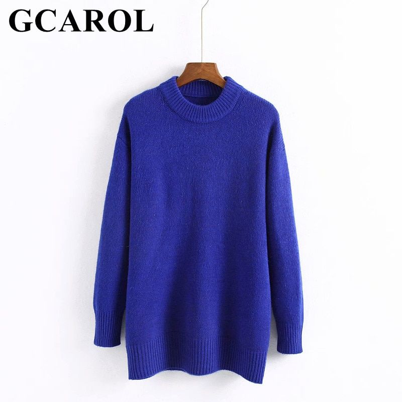 GCAROL 2018 Autumn Winter O Neck Women Long Sweater Oversize Soft Hand Pullover High Quality Euro Style Knit Ladies Tops