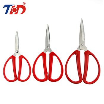 THD 6/6.8/7.8 inch Stainless Steel Office Cutting Scissors Diy Crafts Office Tailor Needlework Red Scissors for Home Workshop