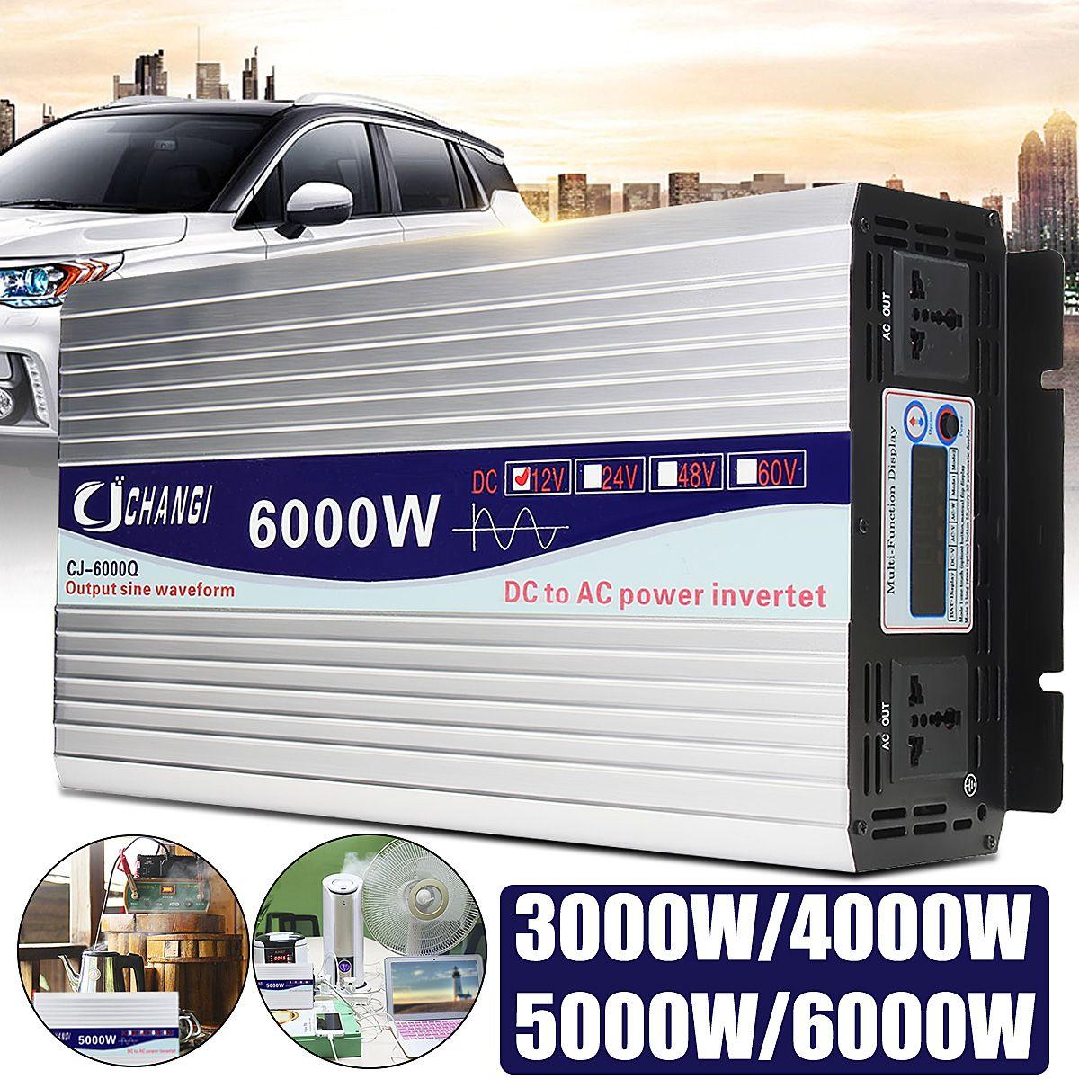 Inverter 12V to 220V 3000/4000/5000/6000W Voltage transformer Power Solar Inverter Pure Sine Wave Converter Adapter LCD Screen