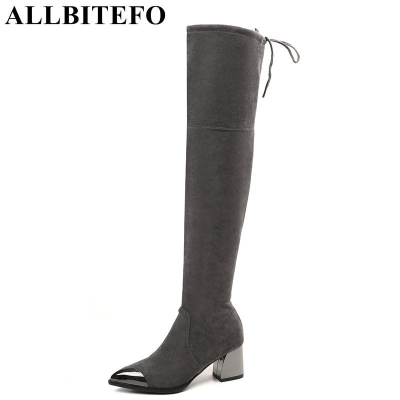 ALLBITEFO metal toe Elastic material High-quality pointed toe women boots over the knee boots fashion sexy girls boots shoes