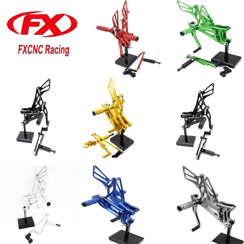 FX CNC Motorcycle Adjustable Aluminum Foot Rests Rear Set Foot Pegs Fit for YAMAHA YZF R1 2007 2008 Rearset