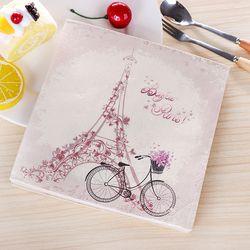 New Vintage Bicycle Eiffel Tower Paper Napkins Cafe&Party Tissue Napkins Decoupage Decoration Paper 33cm*33cm 20pcs/pack/lot