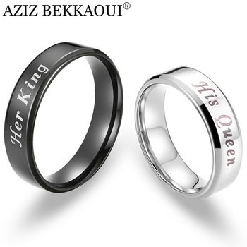 AZIZ BEKKAOUI Her King & His Queen Couple Rings Stainless Steel Rings Promise Bands Free Engrave Wedding Jewelry Dropshipping