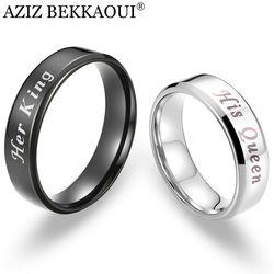 Aziz Bekkaoui Raja dan Ratu Beberapa Cincin Stainless Steel Cincin Janji Band Gratis Mengukir Pernikahan Perhiasan Dropshipping
