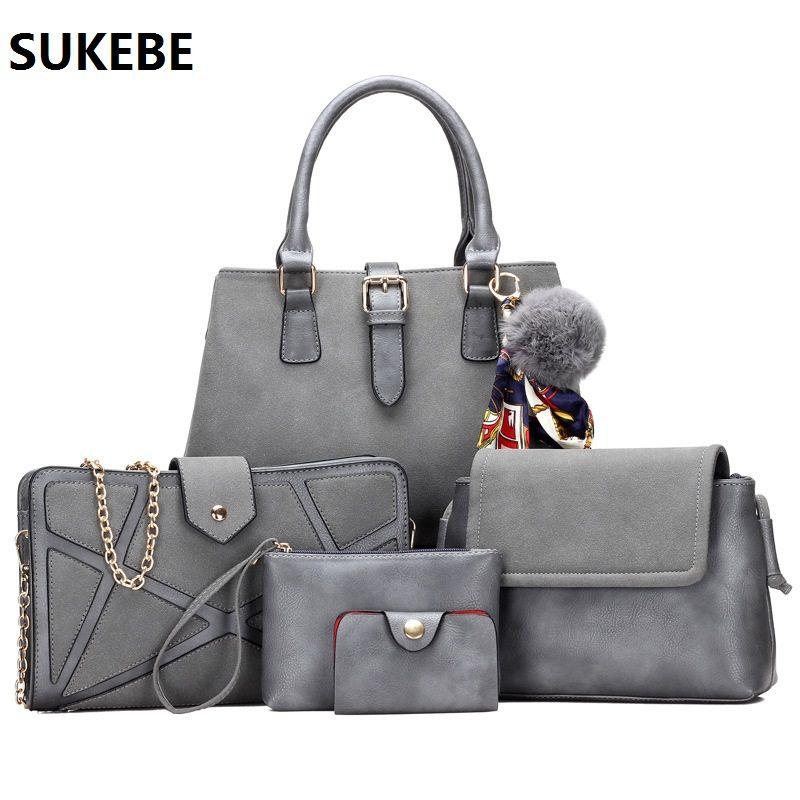 6 Teile/satz Frauen Tasche Leder Verbund Tasche Frauen Messenger Bags Dame Schulter Handtasche Geldbörse bolsa