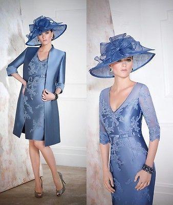 Livraison gratuite robe de soirée 2016 nouvelle mode robe de festa marraine bleu appliques Mère de la Mariée Robes avec veste