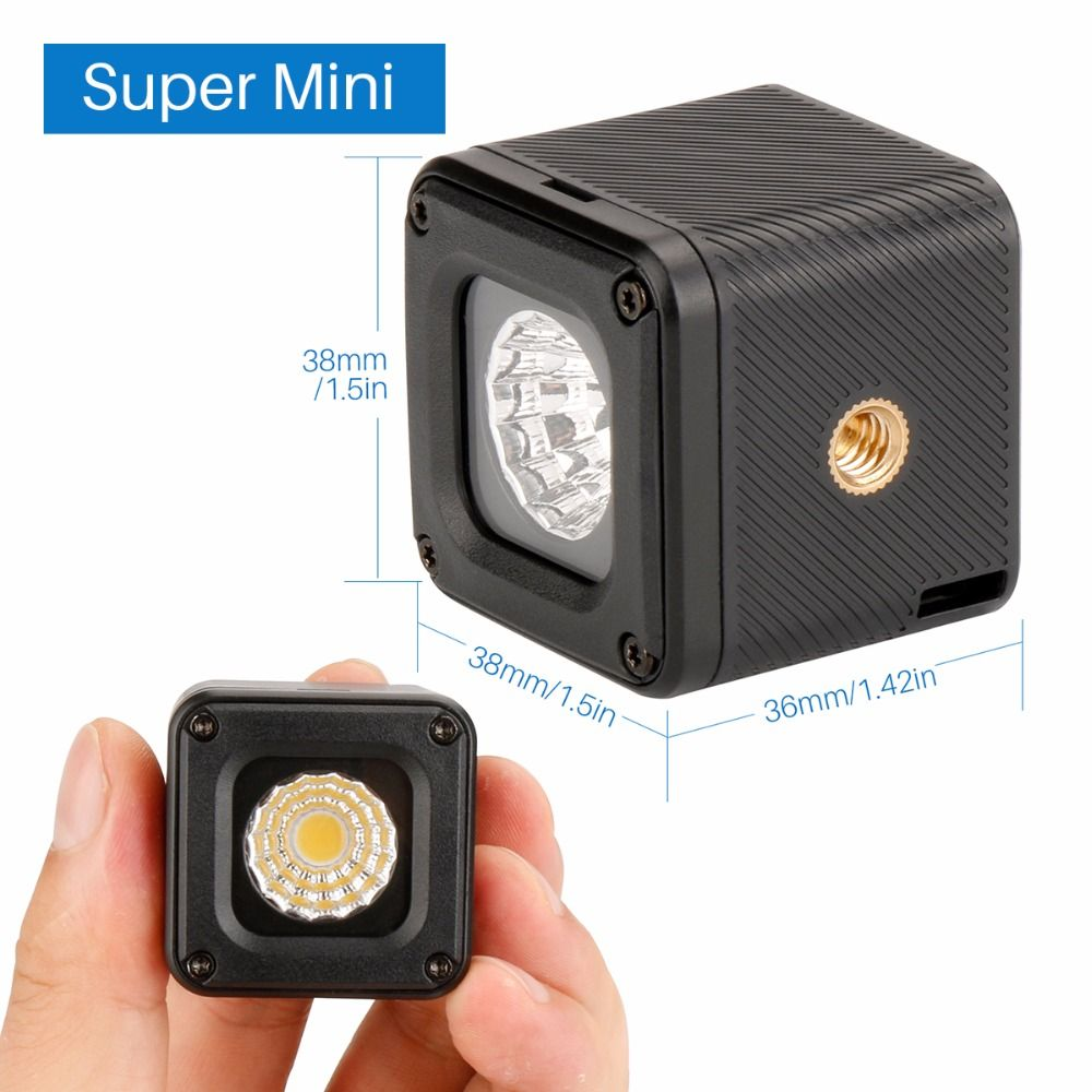 Ulanzi L1 Waterproof Dimmable LED Video Light on Camera for Canon Nikon DSLR Gopro 6, Adventure Lighting for DJI Yuneec Drones