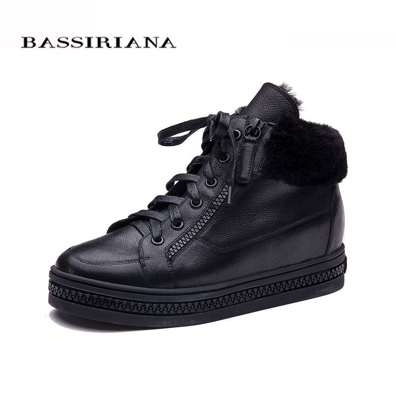 BASSIRIANA Women Oxfords New Winter leather Lace-Up height increasing insole Round Toe Casual Ladies Platform Shoes Woman black