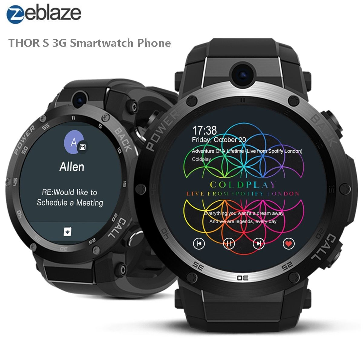 Zeblaze THOR S 3G Smartwatch Phone Android 5.1 1.39 inch MTK6580 1.3GHz Quad Core 16GB ROM 5.0MP Camera Bluetooth Wristband