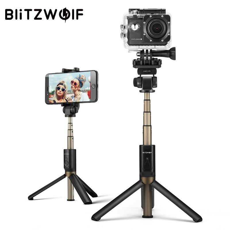 BlitzWolf 3 in 1 Wireless Bluetooth Selfie Stick Tripod Sport Versatile Monopod For Sport <font><b>Camera</b></font> For iPhone X 8 Smartphone