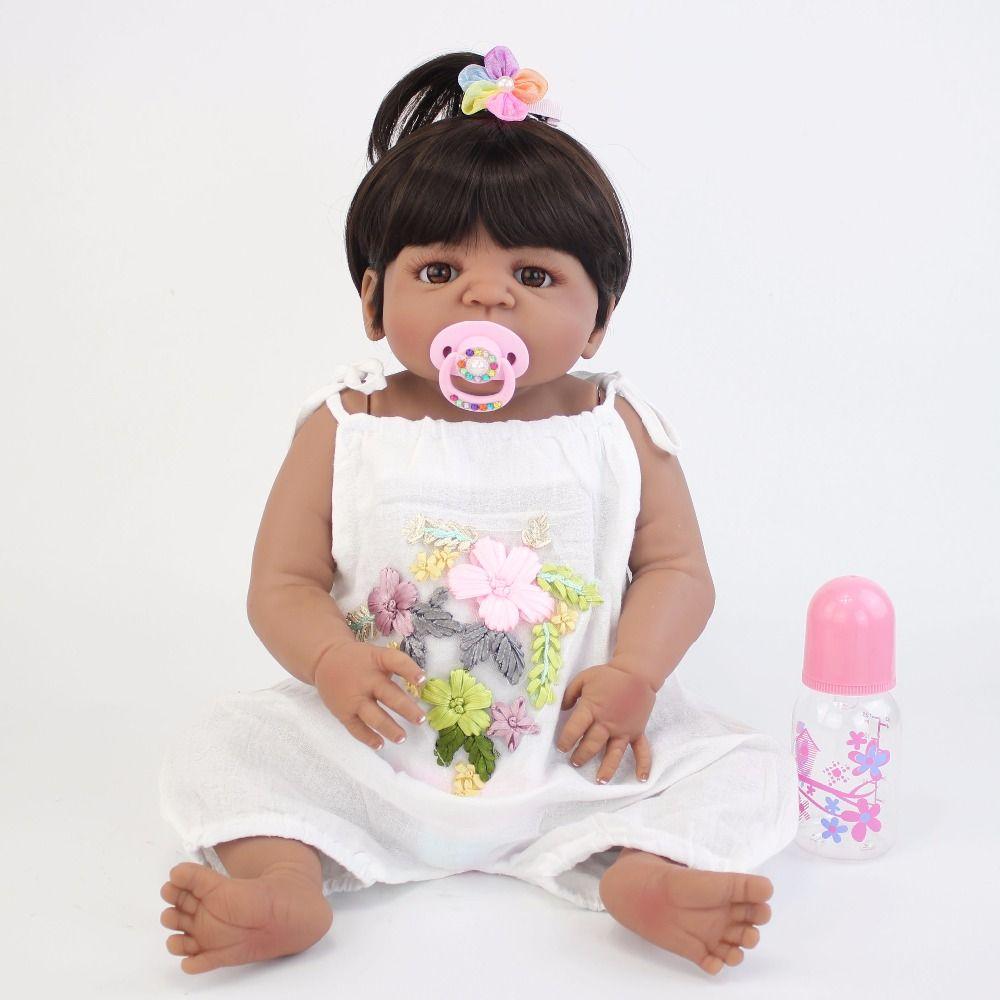 55cm Full Silicone Body Reborn Baby Doll Toy Black Skin Newborn Babies Toddler Alive Bebe Doll Bathe Toy Girls Bonecas Xmas Gift