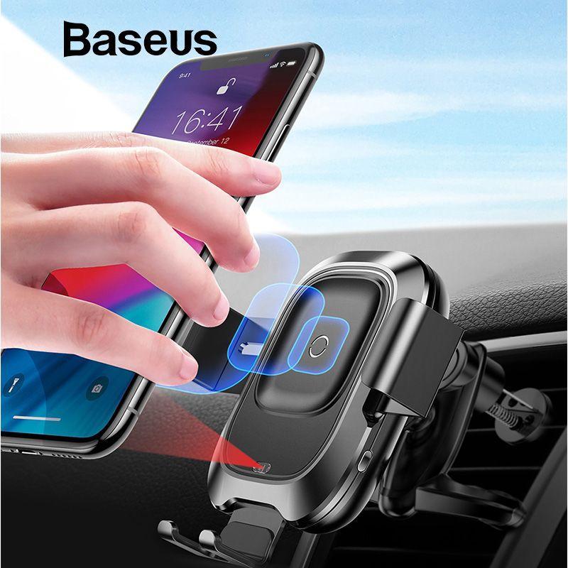 Support pour téléphone de voiture Baseus pour iPhone Samsung Intelligent infrarouge Qi chargeur de voiture sans fil support pour téléphone portable