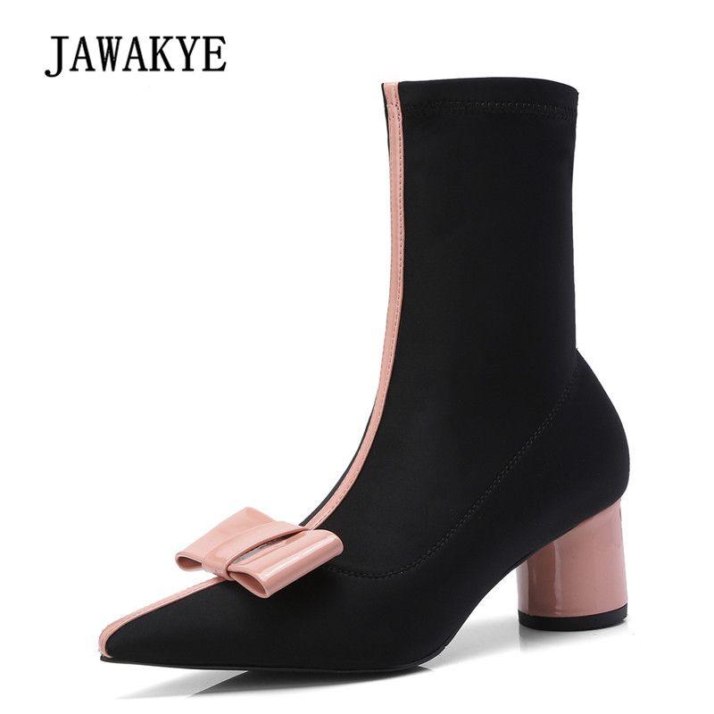 2018 rosa Bogen Stretch Ankle Stiefel Frau Spitz Klobigen High Ferse Schuhe Frau Chic Socke Stiefel