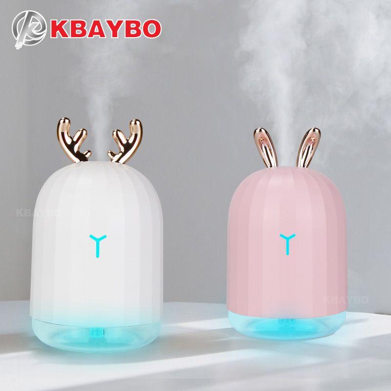 KBAYBO 220 ml USB diffuseur arôme huile essentielle humidificateur diffuseur à ultrasons 7 LED qui change de couleur veilleuse brume fraîche pour la maison