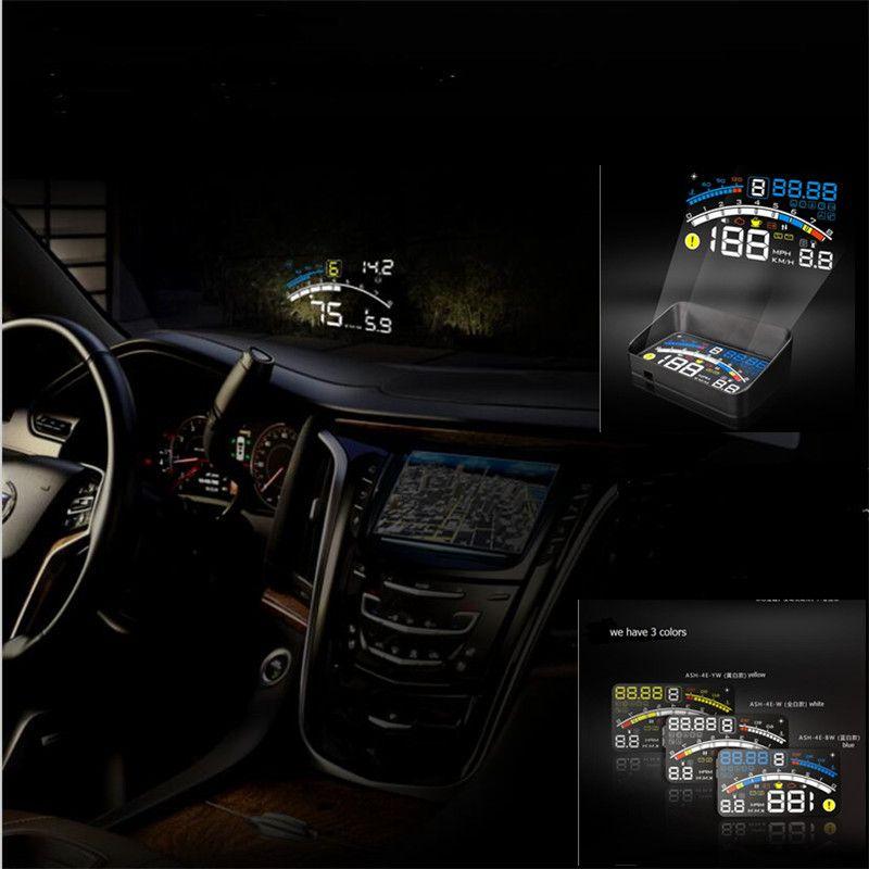 2016 newest  version Universal Car HUD Head Up Display For OBD2 EOBD CAR ,4E Multifunction AUTO HUD display