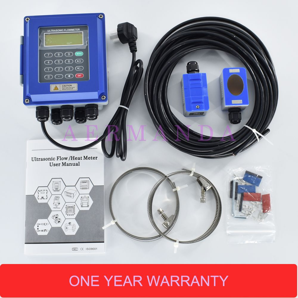 Digital Ultrasonic Water Flowmeter Wall Mounted Clamp On TM-1 Transducer DN50mm-700 TUF-2000B RS485 interface IP67 protection
