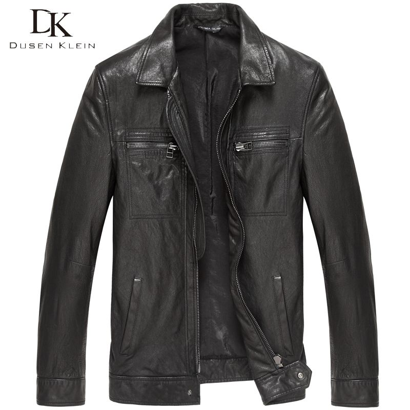 Dusen Klein New Men Genuine Leather Jacket Tanned Leather Black/Slim/Simple Casual/Sheepskin Coat 15S1421