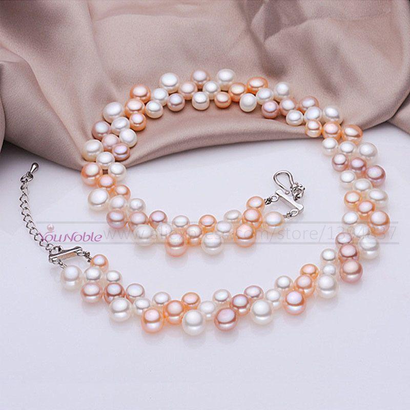Collier ras du cou d'eau douce naturelle 3 rangées collier de perles multicouches femmes, véritable collier de perles collier de mariage maman cadeau d'anniversaire
