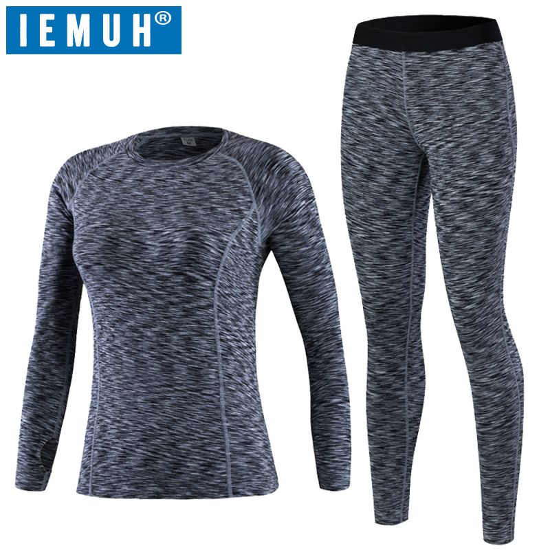 IEMUH Brand Thermal Underwear Women Winter Quick Dry Anti-microbial Stretch Thermo Underwear Sets Female Warm Long Johns HI-Q