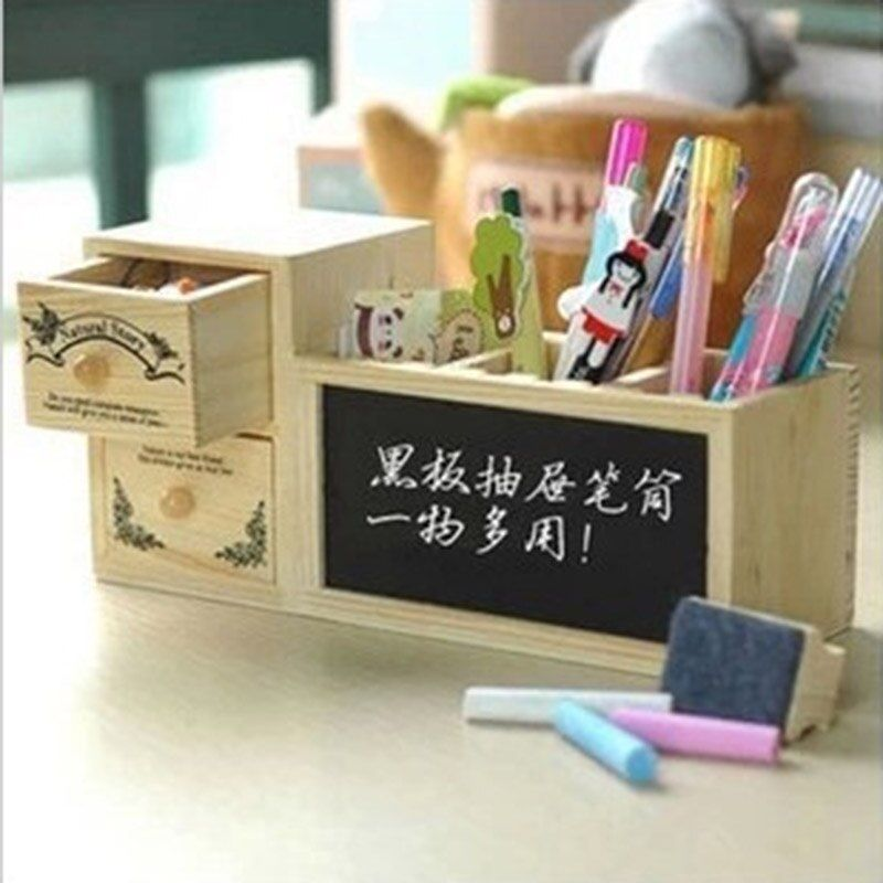 Mignon De Mode En Bois Porte-Stylo Crayon Conteneur avec Tiroir de Bureau Tableau Noir Fournitures Scolaires Corée Papeterie Livraison gratuite 137
