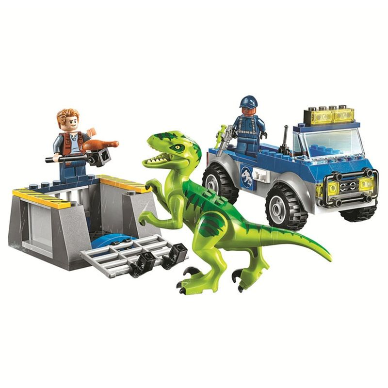 legoings 10757 102pcs Jurassic World Dinosaurs Figures Velociraptor Raptor Rescue Truck Building Block Toys For Children 10919