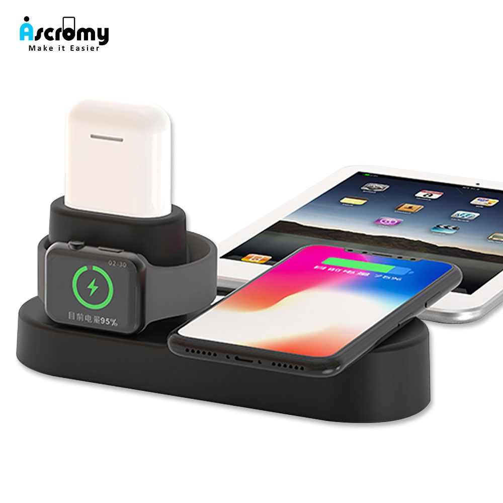 Ascromy Fast Wireless Charger Pad Dock Station For iPhone XS Max XR X 8 Plus 10 Apple Watch 3 2 Induction Charging Stand AirPods