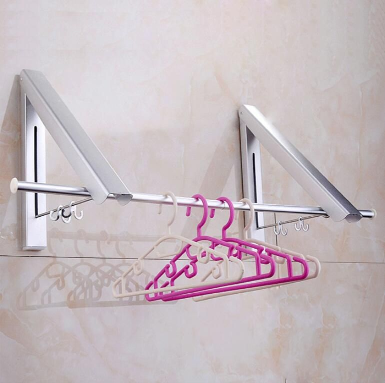 Wall Mounted Space Aluminum Single/double Clothes Drying Hanger Foldable Laundry Rack Clothes Drying Shelf with promotion price