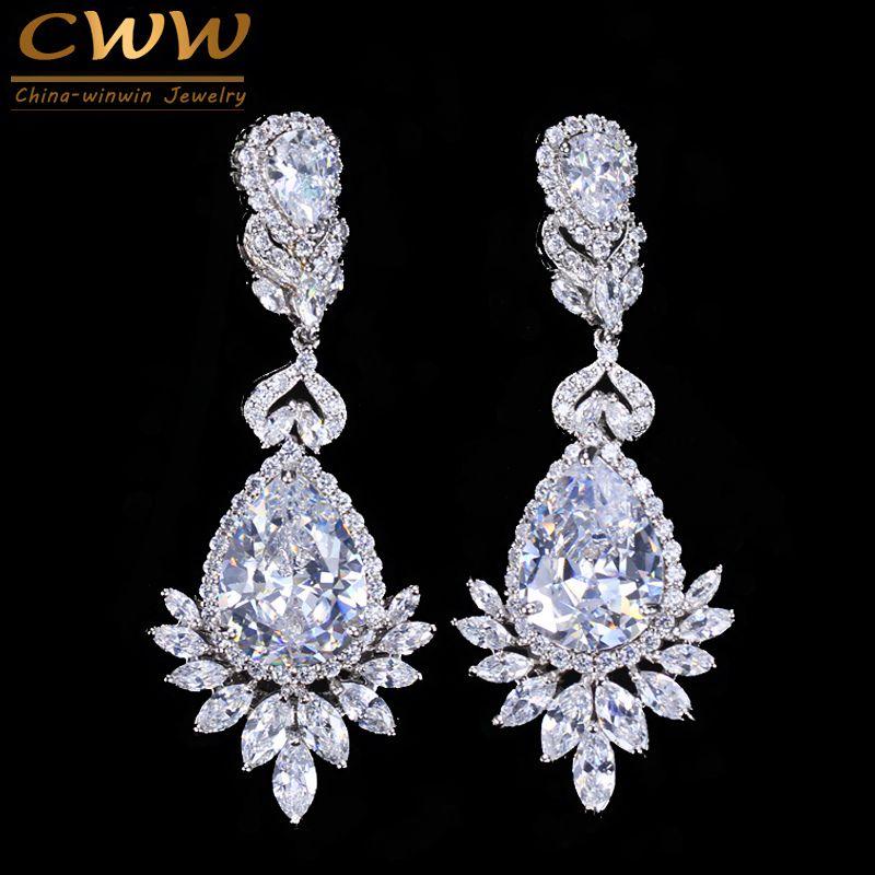 CWWZircons Elegent Soirée Dîner bijoux de mariage De Luxe Longue CZ Cristal Big Drop boucles d'oreilles pour les Mariées CZ055