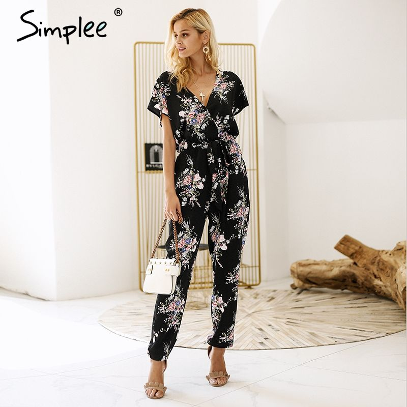 Simplee Vintage floral print boho jumpsuit romper V neck short sleeve casual jumpsuit Loose sash summer jumpsuit women overalls