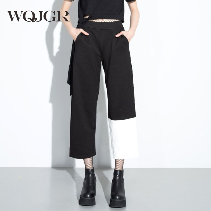 WQJGR 2018 Trousers Women Personality Asymmetry And Hit Color Joint Restore Ancient Ways Woman Wide Leg Nine Pants