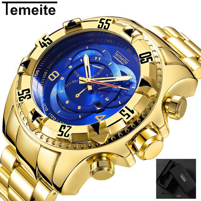 TEMEITE Relogio Masculino Top marque de luxe en or grand cadran hommes montres à Quartz étanche montre-bracelet homme montre militaire livraison directe