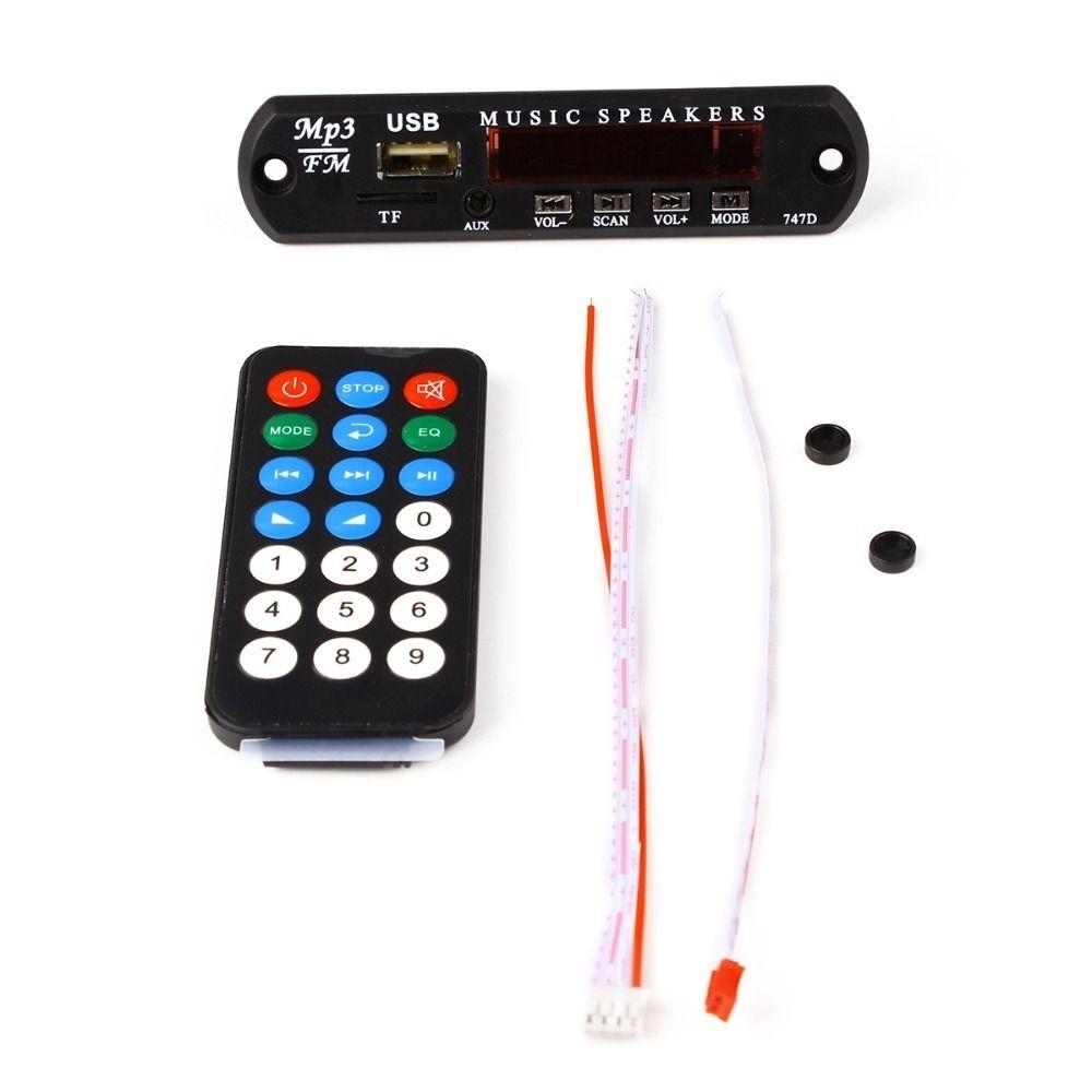 10 PCS Radio Musique Haut-Parleur DC 12 V 5 V Audio Module USB Power Support TF Carte Conseil pour Voiture MP3 Décodeur À Distance Noir couleur