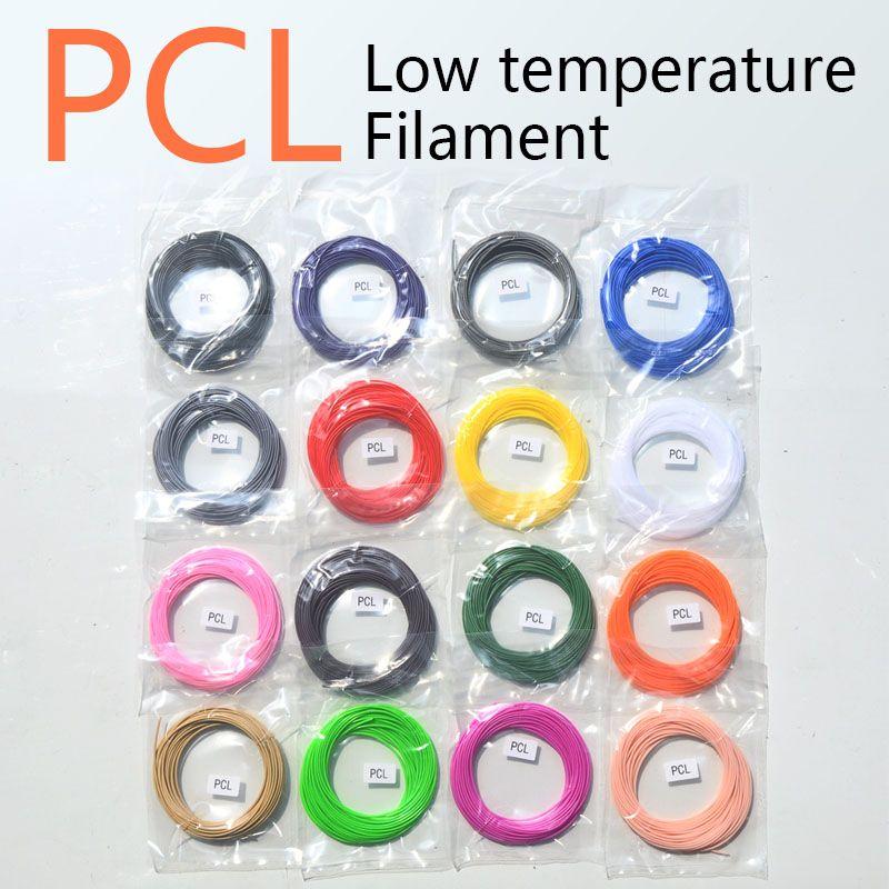 15 farben PCL filament 1,75mm 3d gedruckt stift kunststoff silk low temperatur gedruckten zeichnung creation gedruckt sicherheit materialien