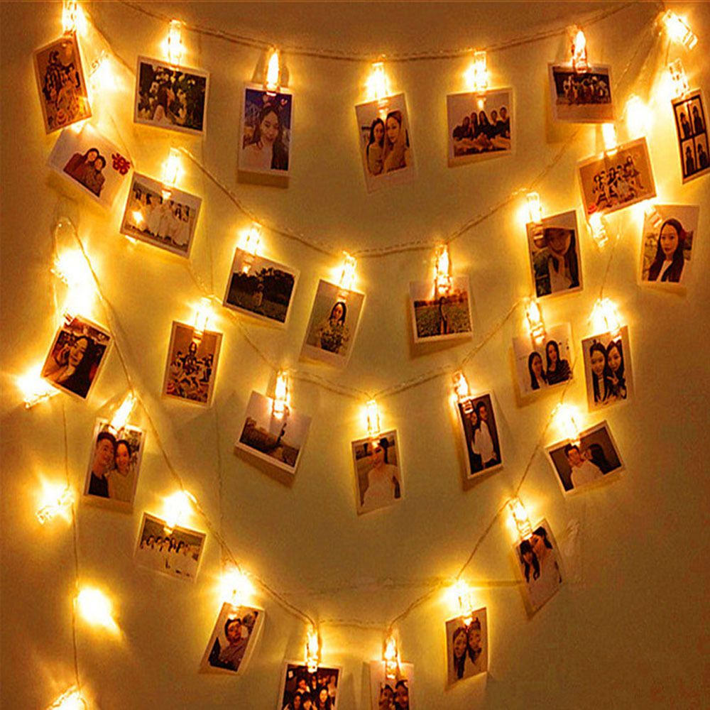Aimbinet 2M 20led Card Photo Clip String Battery Christmas String Light Courtyard Garden Home Party Photo wall decoration