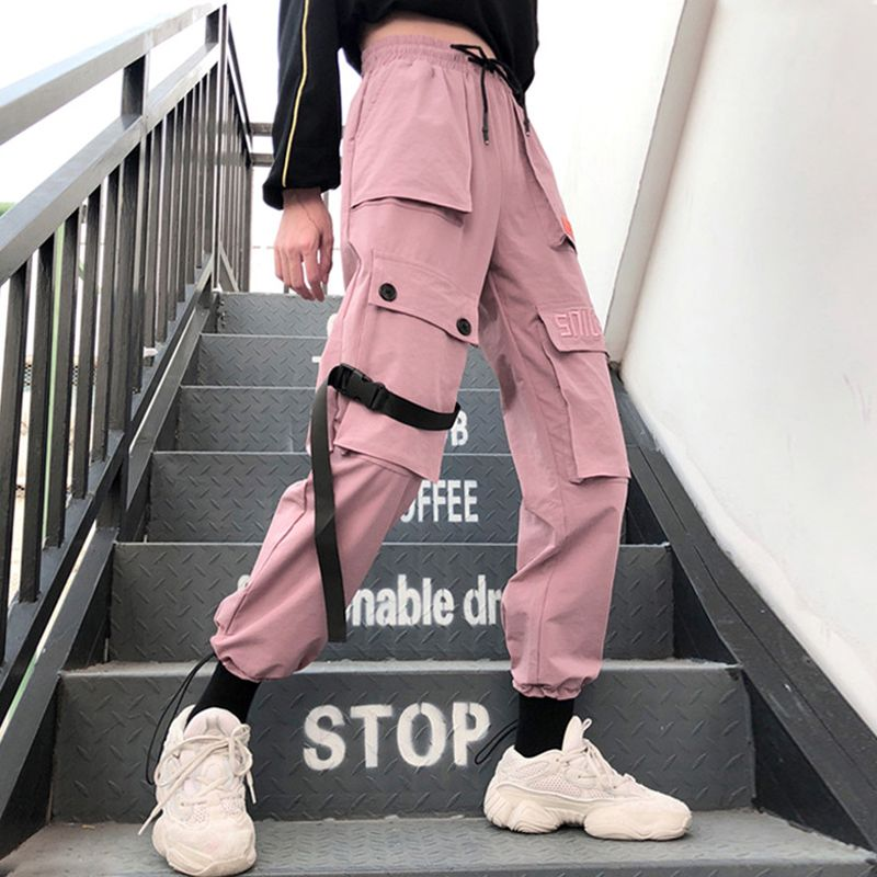 Spring Streetwear embroidery Ladies Cargo Pants Women Casual Joggers Solid Big Pocket Pants High Waist Loose Female Trousers