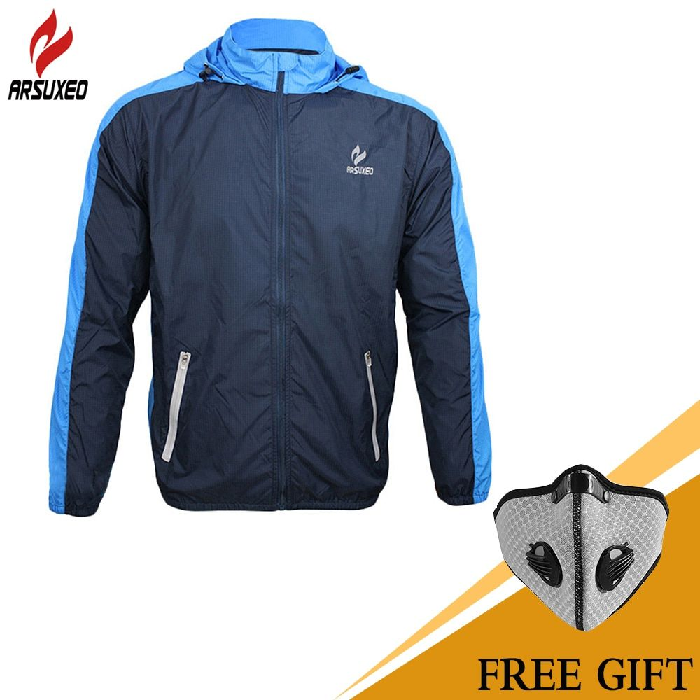 ARSUXEO Breathable Running Clothing Long Sleeve Jacke Wind Coat Men's <font><b>Windproof</b></font> Waterproof Cycling Bicycle Bike Jersey Clothing