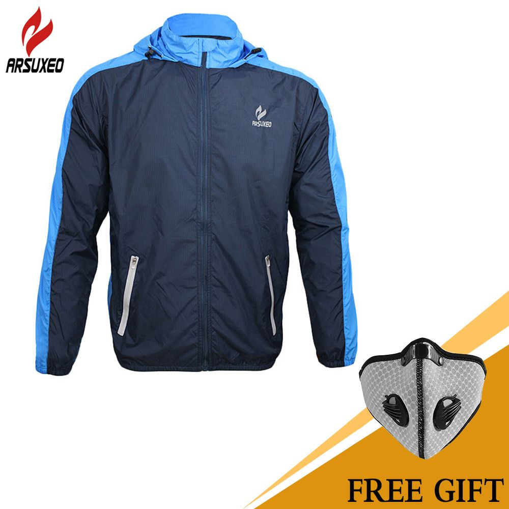ARSUXEO Breathable Running Clothing Long Sleeve Jacke <font><b>Wind</b></font> Coat Men's Windproof Waterproof Cycling Bicycle Bike Jersey Clothing